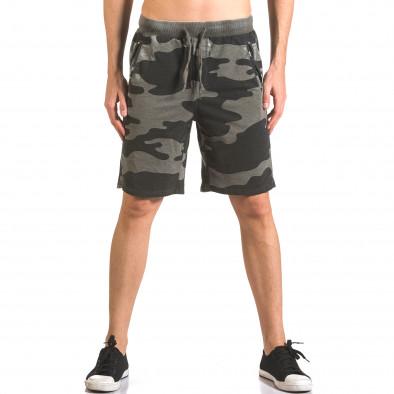 Мъжки къси панталони тип шорти зелен камуфлаж ca050416-46 2