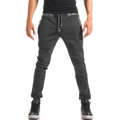 Мъжки тъмно сив спортен панталон с копчета it150816-20 2