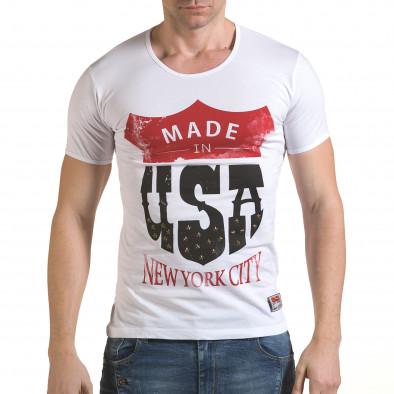 Мъжка бяла тениска Made in USA il170216-81 2