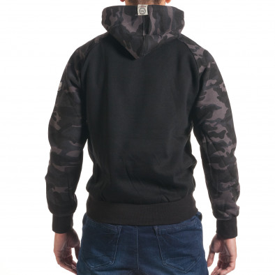 Мъжки черен суичър с камуфлажни ръкави it240816-40 3
