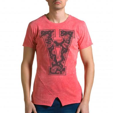 Мъжка червена асиметрична тениска с обърната буква А ca190116-47 2