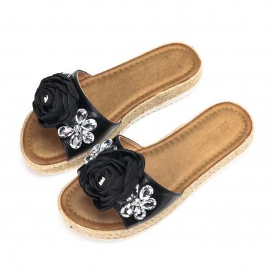 Дамски черни чехли с черна роза и цветенца от камъни it270618-3 3