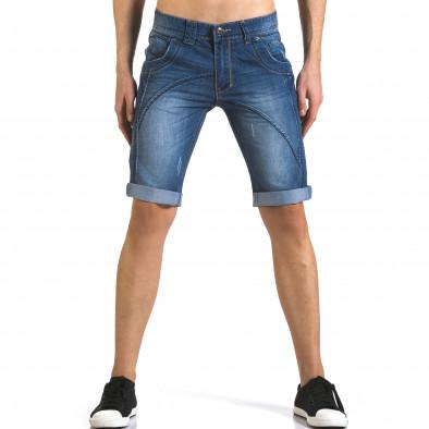 Мъжки къси дънки с допълнителни шевове it110316-70 2