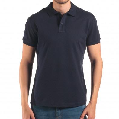 Мъжка синя тениска с яка изчистен модел it150616-36 2