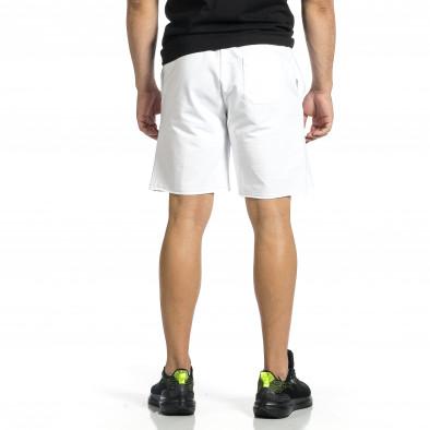 Трикотажни мъжки бели шорти с лого tr150521-24 3