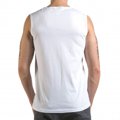 Мъжки бял потник с емблема и надпис it110316-91 3