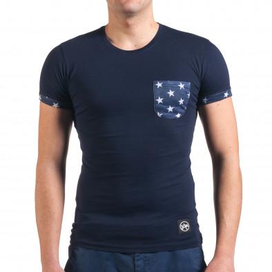 Мъжка синя тениска с джоб на гърдите със звезди il010416-2 2