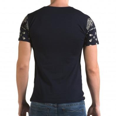 Мъжка синя тениска с флорални мотиви и надпис il120216-55 3
