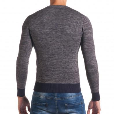 Мъжки синьо-сив пуловер с обло деколте it170816-12 3