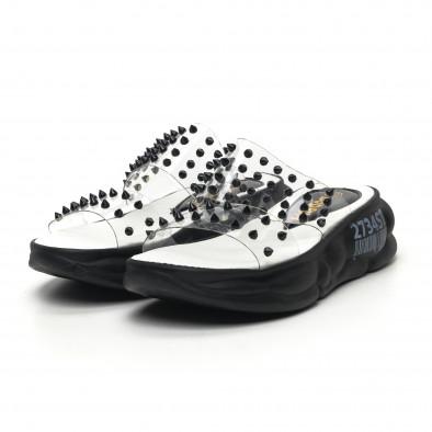 Дамски прозрачни чехли черни шипове tr180320-9 3