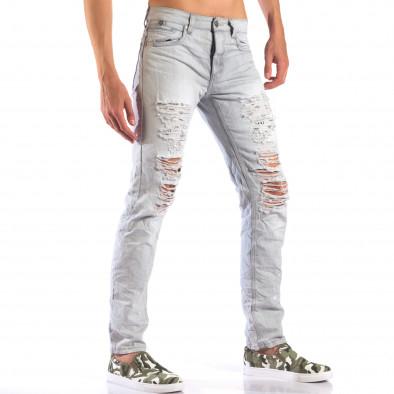 Мъжки сиви дънки с големи скъсвания it160616-21 4