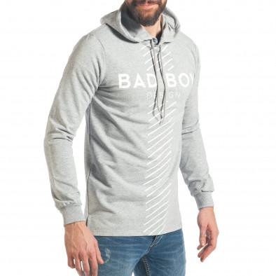 Мъжки сив суичър с голям надпис Bad Boy it290118-95 4