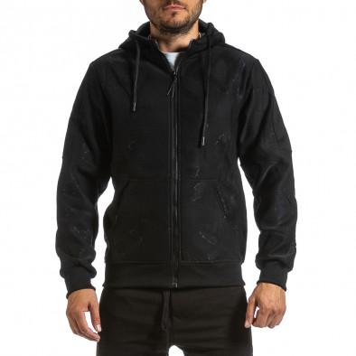 Жакардов черен суичър с цип син поларен хастар gr070921-48 2