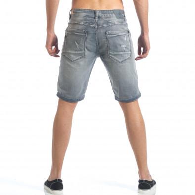 Мъжки сиви къси дънки с големи скъсвания it190417-61 3