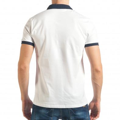 Мъжка бяла тениска с емблеми tsf020218-59 3