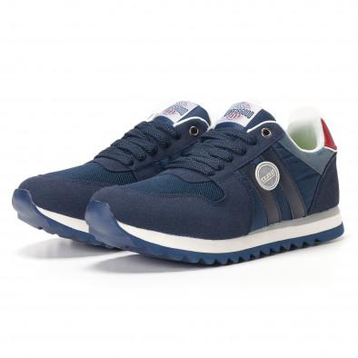 Мъжки сини маратонки с червени детайли it250118-20 3