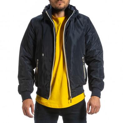 Мъжко синьо яке с прибираща се качулка it070921-29 2