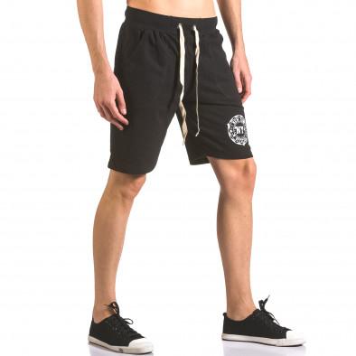 Мъжки черни шорти за спорт с малък принт ca050416-44 4