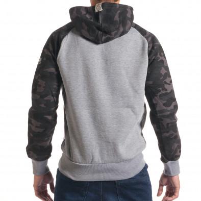 Мъжки сив суичър с камуфлажни ръкави it240816-39 3