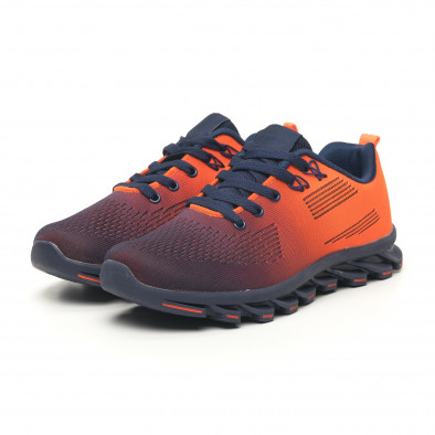 Синьо-оранжеви маратонки с релефна подметка it171019-1 3