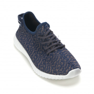 Мъжки сини маратонки със сив принт олекотени it090616-22 3