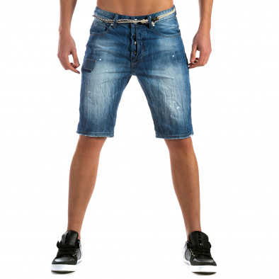 Мъжки къси дънки с пръски боя и конопен колан it110315-57 2