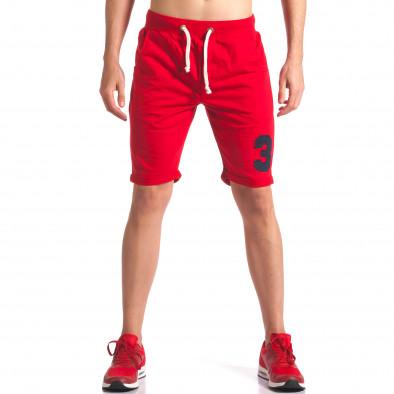 Мъжки червени шорти за спорт с номер it260416-22 2