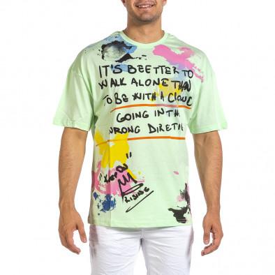 Зелена мъжка тениска с колоритен принт it240621-11 2