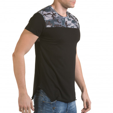 Мъжка черна тениска с камуфлаж на раменете il170216-52 4