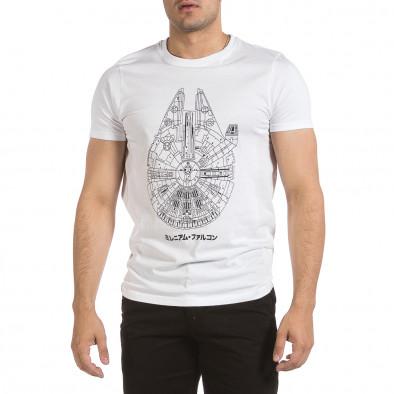 Мъжка бяла тениска с принт it040621-11 3