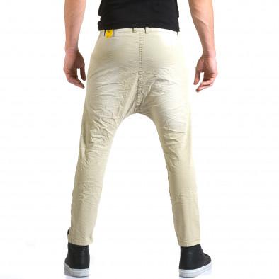 Мъжки бежов панталон със смъкнато дъно и копчета it211015-15 3