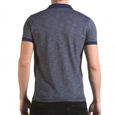 Мъжка синя тениска с яка с лого Franklin 4