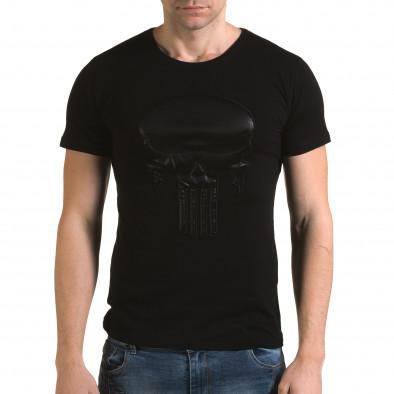 Мъжка черна тениска с череп отпред Lagos 4