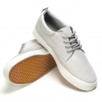 Мъжки спортни обувки тип кецове в сиво с бяла подметка Garago 5