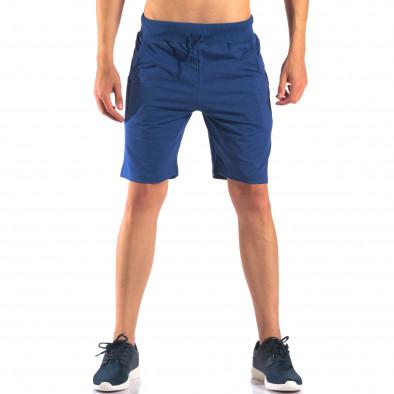 Мъжки сини шорти за спорт изчистен модел it160616-7 2