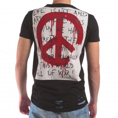 Мъжка черна тениска със скъсвания и хипарски принт il210616-24 3