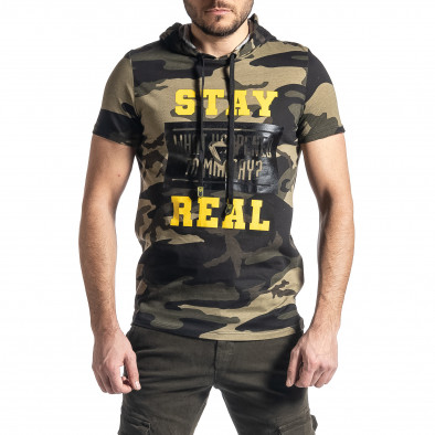 Мъжка тениска с качулка зелен камуфлаж tr010221-26 2