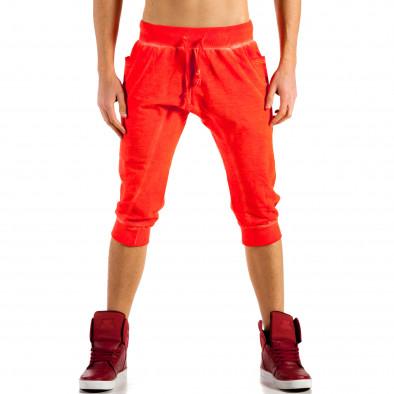 Мъжки червени къси панталони с изтрит ефект ca100514-13 3