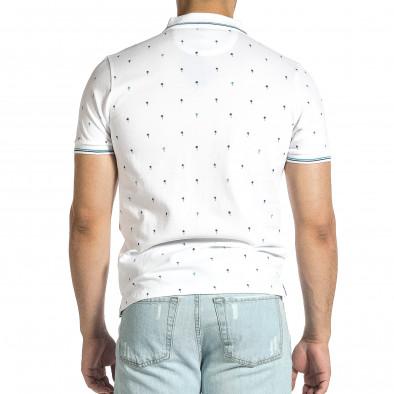 Мъжка бяла тениска пике с палми it150521-15 3