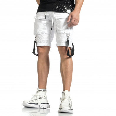 Мъжки бели къси панталони Cargo Hip Hop it150521-31 4