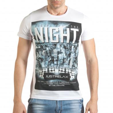 Бяла мъжка тениска с голяма щампа отпред il140416-39 2