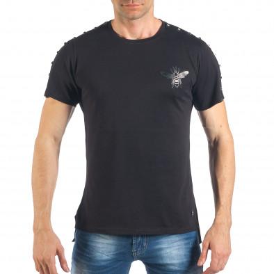 Мъжка черна тениска с апликация и капси it260318-186 2