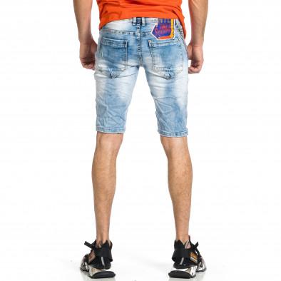 Мъжки сини къси дънки с апликации gr270421-26 3