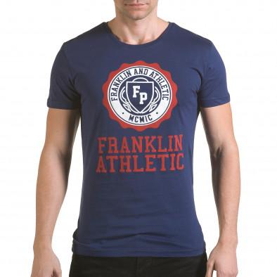 Мъжка синя тениска с кръгъл принт отпред il170216-6 2