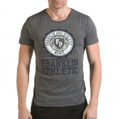 Мъжка сива тениска с кръгъл принт отпред il170216-7 2