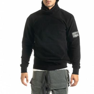 Мъжки черен суичър от полар с качулка tr020920-25 2