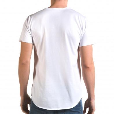 Мъжка издължена бяла тениска с як принт it090216-74 3