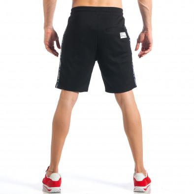 Мъжки черни шорти с апликация на крачола it110418-21 4