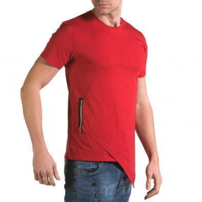 Мъжка червена тениска с асиметрична кройка it090216-68 4