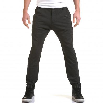 Мъжки тъмно сив панталон с малък детайл отпред it090216-3 2